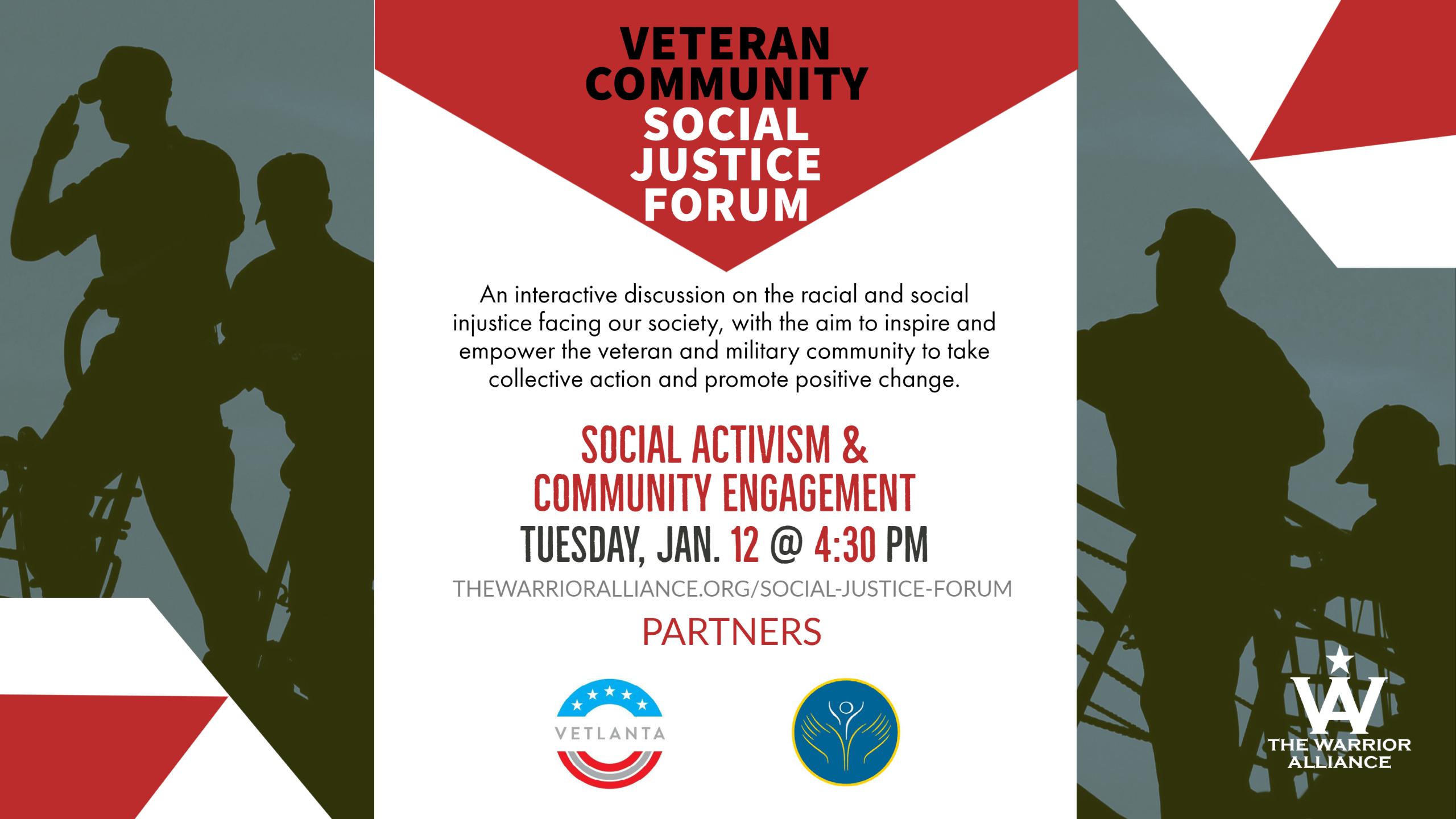 Veteran Community Social Justice Forum - Social Activism and Engagement January 12, 2021